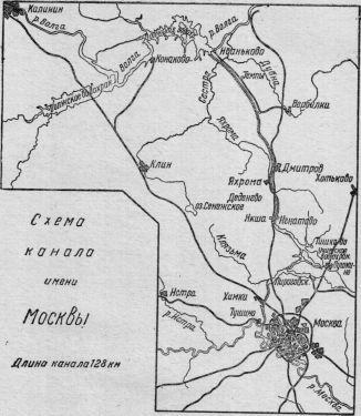 Схема канала имени Москвы.